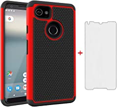 Phone Case for Google Pixel 2 XL with Tempered Glass Screen Protector Cover Flim and Cell Accessories Slim Rugged Silicone Hard Hybrid Protective Pixel2XL Pixel2 LX Pixle 2XL Cases Women Men Black Red