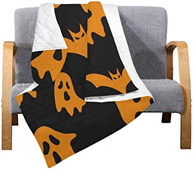 INTERESTPRINT Halloween, Orange Ghost and Bat, in Black All-Season Quilted Comforter 50 x 60 Inches
