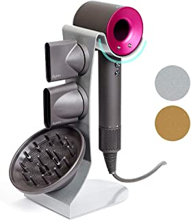 Dyson Hair Dryer Stand Holder, Steel for All Dyson Models (Silver Pearl)