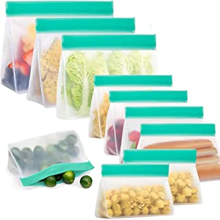 AMERTEER Stand up Reusable food Storage Bags(10 Pack),Freezer Ziplock Lunch Bags for Marinate Meats, Snack, Sandwich, Frui...