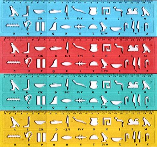 Unsere Namen in Hieroglyphen / 4x Hieroglyphenschablonen inkl. vier Lesezeichen aus Papyrus