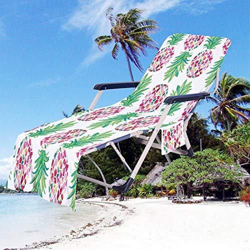 Fruta Impresión Toalla de Playa Funda de Silla de Playa Portátil Microfibra Funda de Silla de Playa de Secado Rápido con Bolsillos para Tomar El Sol en Vacaciones en La Playa (Color 5, 75 × 210 cm)