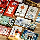 BLOUR 60 Stück/Schachtel Japanische Retro-Stil dekorative Aufkleber Scrapbooking Matchbox Aufkleber Flocken Stationäres Album Bürozubehör
