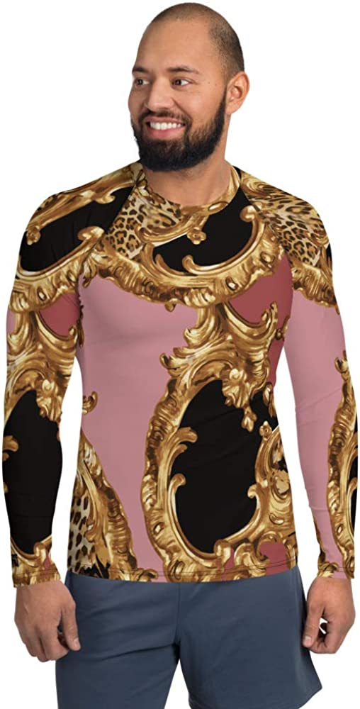 Men's Rash Guard Long Sleeve Sportswear Pink Animal Gold Baroque