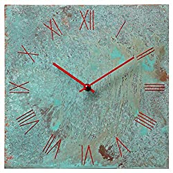 Large Square Torquoise Copper Wall Clock 12-inch - Silent Non Ticking Gift for Home/Office/Kitchen/Bedroom/Living Room