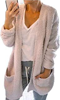 Womens Open Front Cardigan Sweater Fuzzy Sherpa Jacket with Pockets