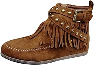 FEISI22㉿ Women's Double-Fringe Side-Zip Boot Fringe Ankle Boot Western Cowboy Bootie Martin Boots Zip Snow Boots Shoes