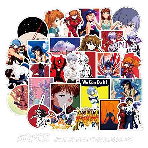 Leotiee 50 Stück Anime Neon Genesis Evangelion Aufkleber Wasserdicht Vinyl Aufkleber Pack für Hydro Flasks Laptop und Handy | Süße Aufkleber für Scrapbooking, Planer
