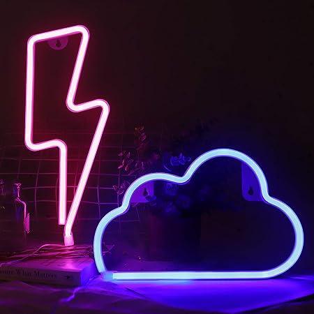 EEEKit LED Leuchtreklame Licht Wolken Schild Neonlicht Blitz Leuchtschilder Licht Kombination Batterie/USB Powered Hanging Neon Mood Beleuchtung für Hochzeit Home Party Dekor Muttertagsdekoration