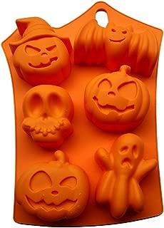 LMS Food Grade Halloween Pumpkins Bat Skulls Ghost Silicone Candy Baking Mold, 9x7 inch