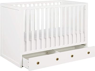 Novogratz Rue 3-in-1 Convertible Baby Crib with Storage Drawer, White (DL8877B3)