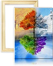 ufengke Wooden Frame Four Seasons Tree 5D Art Diamond Painting Kits DIY Full Drill Diamond Embroidery Cross Stitch Sets for Beginners Craft Lovers