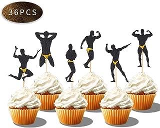 36 PCS Male Dancers Strippers Beefcake Cupcake Toppers,Bachelorette Cupcake Toppers Picks, Hen Party Decoration Supplies