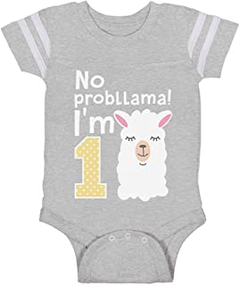 Tstars Gift for 1 Year Old Girl No Probllama Funny 1st Birthday Baby Jersey Bodysuit