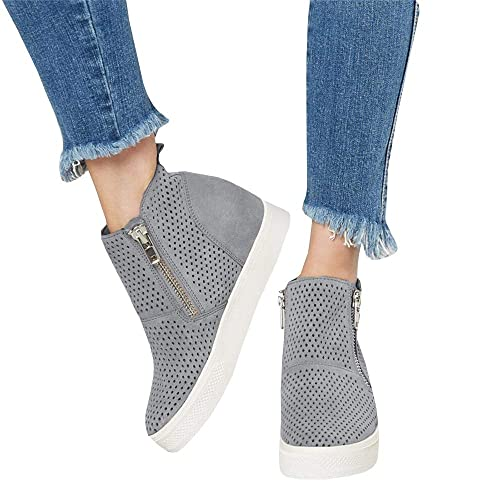 32f8b9f43e94 LAICIGO Women s Platform Sneakers Hidden Wedges Side Zipper Faux Suede  Perforated Ankle Booties