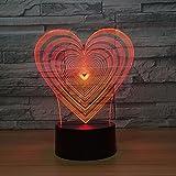 Tianyifengg Luz Nocturna LED-Visión 3D-Siete Colores-Control Remoto-Luz Nocturna Visión en Forma de corazón