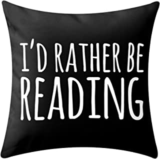 KACOPOL Inspirational Quote Books & Coffee Throw Pillow Covers Super Soft Home Decor Pillow Case Cushion Cover Words Book Lover Worm 18x18 Inches (I'd Rather BE Reading)
