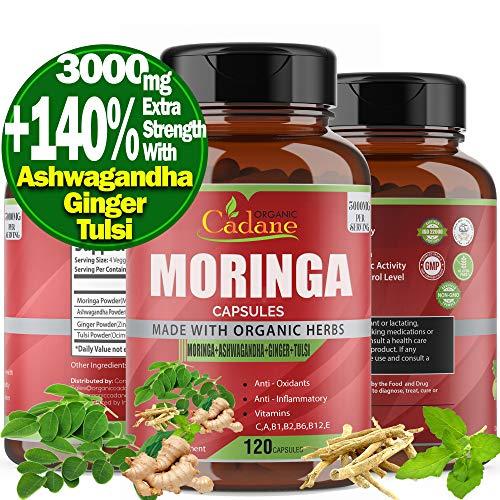 Organic Moringa Powder Capsules 3000mg with Ashwagandha, Ginger, Tulsi Extract|Multi Vitamin Oleifera Leaf Herb |Supports Weight Loss, Immune System|Antioxidants Anti Inflammatory Supplements, 120Caps