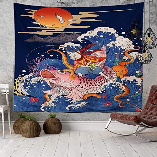 KHKJ Japanische Decke Welle Wal Arowana Wandbehang Stoff böhmischen Bett Boho Wohnkultur Wandteppich Meer Sonne Sonnenlicht A9 95x73cm