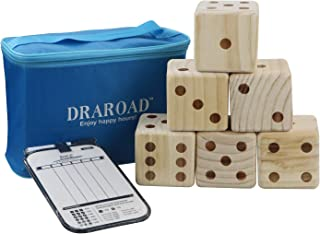 DRAROAD Giant Wooden Yard Dice Outdoor Game with Bonus Yardzee and Farkle Scoresheets and Carrying Bag for All Ages, Great Lawn and Family Game