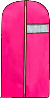 Garment Bags, Premium Quality Breathable Dress/Suit Covers with Clear Window, Full Zipper Suit Bag for Suit Carriers, Dresses, Storage or Travel, 55cm105cm, Fabric, Rose Red, 55cm*105cm