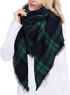 Bess Bridal Women's Plaid Blanket Winter Scarf Warm Cozy Tartan Wrap Oversized Shawl Cape
