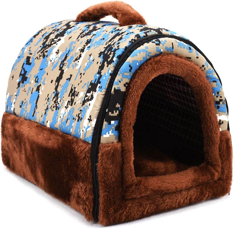 2in1 Pet House Portable Sofa NonSlip Dog Cat Beds Warm Pet Nest Washable Basket Mat Cushion Pet Supplies (color   B, Size   Small)