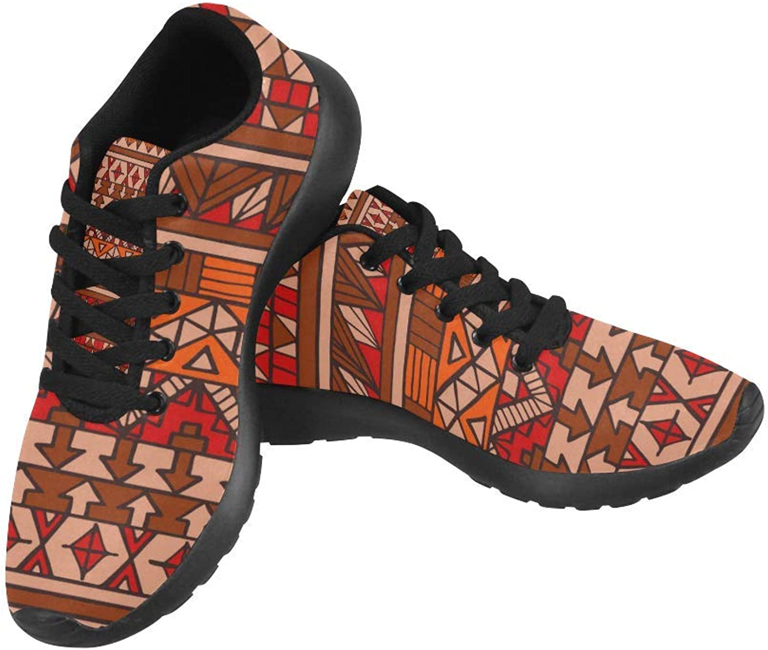 InterestPrint red Abstract Aztec Pattern Print on Women's Running shoes Casual Lightweight Athletic Sneakers US Size 6-15