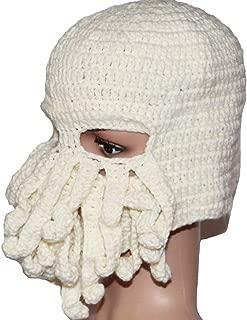 LETSQK Tentacle Beard Knit Winter Warm Octopus Windproof Funny Hat Beanie Ski Mask