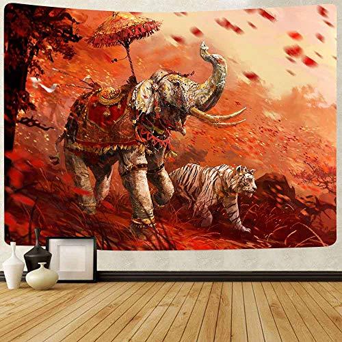 Puzzle 1000 Piezas Pintura Decorativa Elefante Tigre Indio Bohemio Mandala Puzzle 1000 Piezas Animales Gran Ocio vacacional, Juegos interactivos familiares50x75cm(20x30inch)