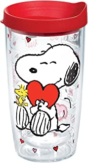 Tervis 1136327 Peanuts - Valentine's Day Tumbler with Wrap and Red Lid 16oz, Clear
