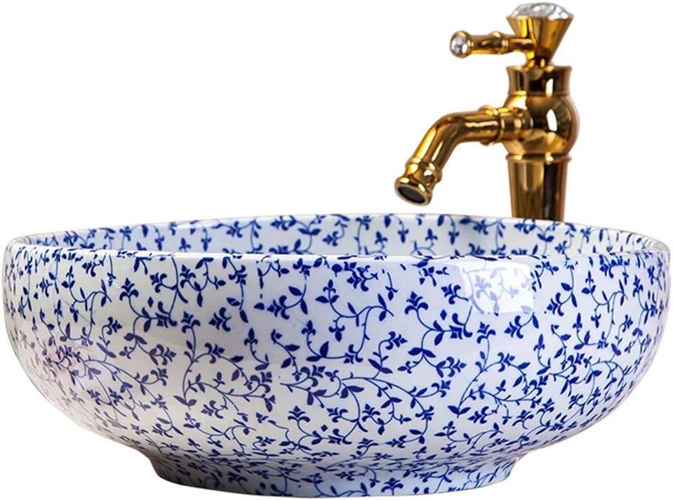 FLYFO Arte Lavabo sobre Encimera Clásico Azul Y Blanco Redondo Cerámico Fregadero Sencillo Baño Lavamanos Pintado a Mano Hermosa Durable