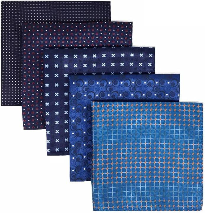 EODNSOFN 5 Pieces Colorful Assorted Mens Pocket Square Silk Classic Handkerchief Set Gift Colorful (Color : C)
