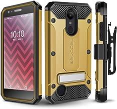 LG Aristo 2/ Aristo 2 Plus/Tribute Dynasty/Fortune 2/ Rebel 3 Case, Evocel [Explorer Series Pro] Premium Case w/Tempered Glass, Belt Clip, Kickstand for K8+/ Phoenix 3/ LG Zone 4, Gold