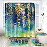 ArtSocket 4 Pcs Shower Curtain Set Abstract Floral Watercolor Painting White Yellow red Flowers Color Blue Green Ivy Tree with Non-Slip Rugs Toilet Lid Cover and Bath Mat Bathroom Decor Set 72' x 72'