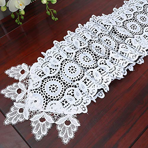 Generico Lace Embroidery Romantic Hollow Net Gauze Fabric Table Runner, Wedding Party Table Decoration, Bed Cabinet, Tea Table Towel Dust Cover, Can Be Washed 60x60cm