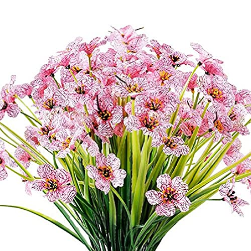KKSTY Outdoor Artificial Flowers, 6Pcs UV Resistant Plants Faux Plastic Violet Flowers Shrubs for for Indoor Outside Window Hanging Plants Home Office Wedding Garden Decor (Pink)