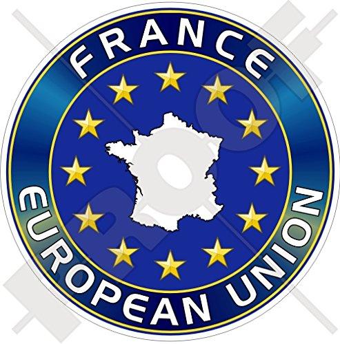 Union européenne France Carte forme eu-fr europe-french 100 mm (10,2 cm) Bumper Sticker en vinyle, en