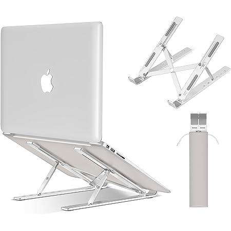 ノートパソコン スタンド SROSS-TEC pcスタンド 折りたたみ式 ラップトップスタンド アルミ合金製 6段高さ調節可能 姿勢改善 優れた放熱性 軽量 持ち運び便利 35KG荷重 10~15.6インチに対応 銀色