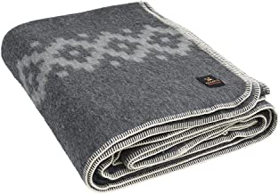 Thick Alpaca Wool Blanket King Size - Ethnic Design (Gray - Light Gray)