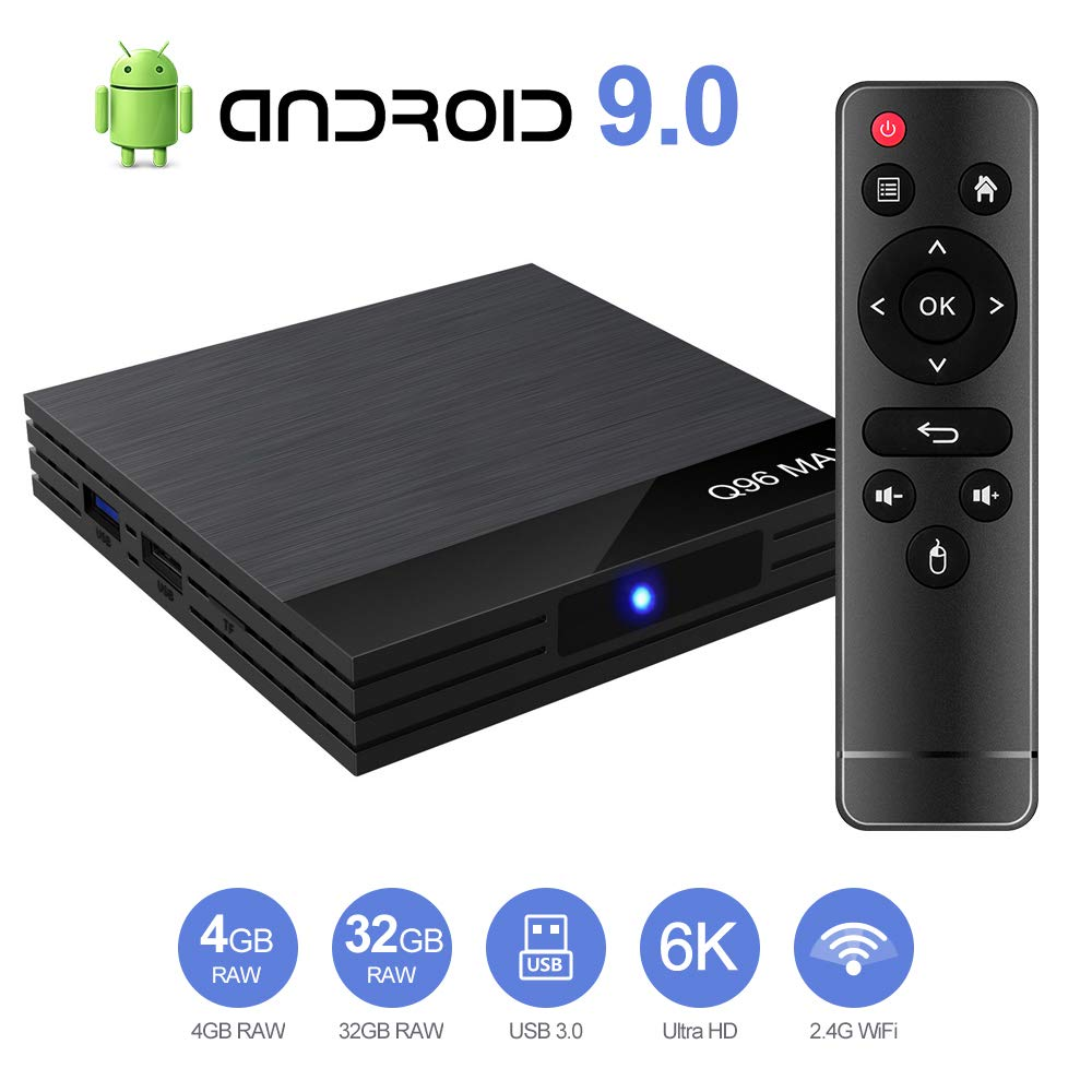 STRENTER TV Box Android 9.0 TV Box Smart Media Box 4GB RAM 32GB ROM 4.2 WiFi 2.4G Ethernet 2USB 3.0 Set Top Box Support 4K Ultra HD Internet Video Player: Amazon.es: Electrónica