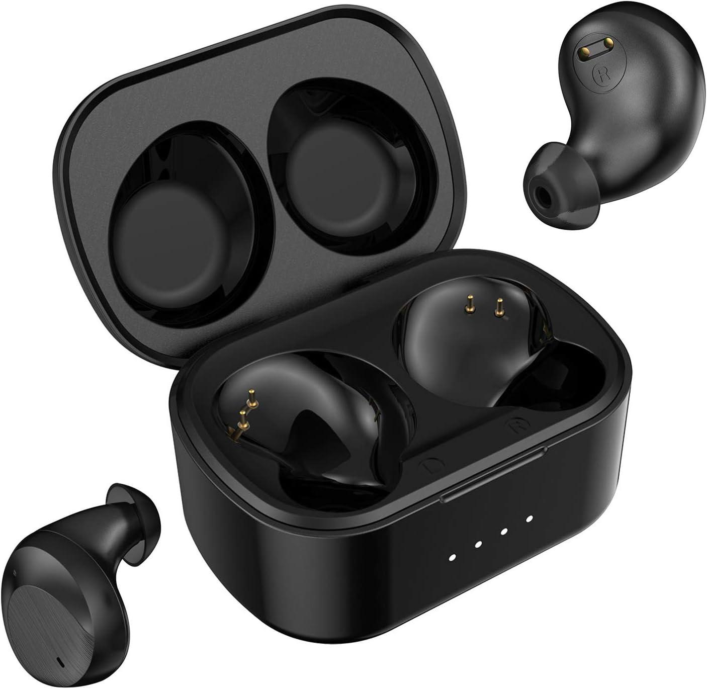 True Wireless Earbuds Bluetooth 5.0 Headphones, Clear Voice Call in-Ear Headset IPX7 Waterproof 40H Wireless Charging Case Sports Earphones (Black)