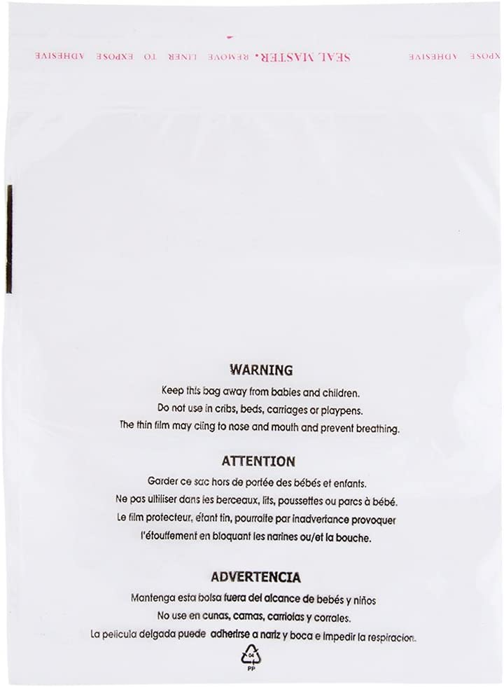 Self Seal Clear Max 44% OFF Poly Bags Beauty products with an Warning Suffocation Easy Peel