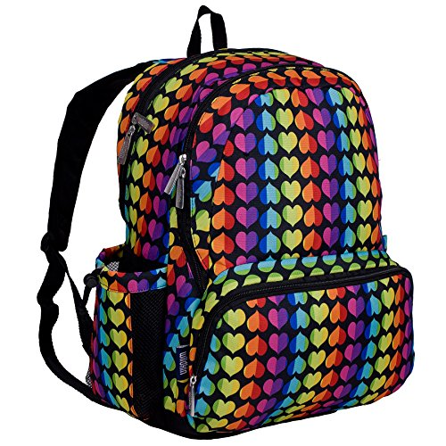 Wildkin Kids 17 Inch Backpack for Boys and Girls, Perfect Size for Middle, Junior, and High School, 600-Denier Polyester Fabric Kids Backpack Measures 17 x 12 x 9 Inches (Rainbow Hearts)
