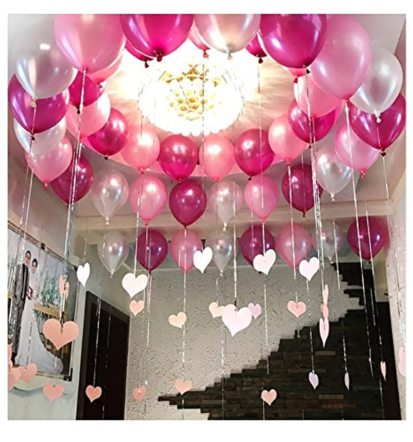 Pearl Balloon Thicked Latex Balloons Party Decor Wedding Birthday Helium Thickening Party Balls (Pink&Red Rose&Silver) 72Pcs/Pack 12 Inch 2.8g