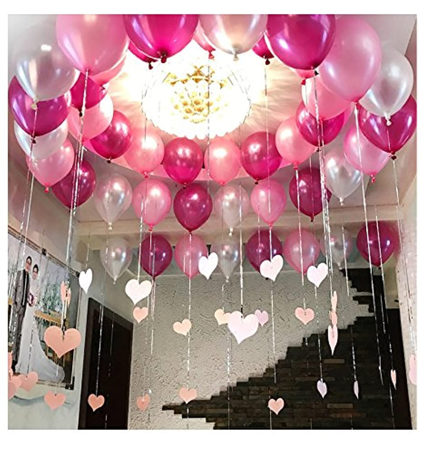 Pearl Balloon Thicked Latex Balloons Party Decor Wedding Birthday Helium Thickening Party Balls (Pink&Red Rose&Silver) 72Pcs/Pack 12 Inch 2.8g rcejdgzwezef