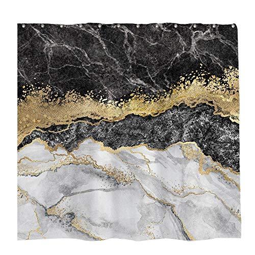 Allenjoy 183 x 182,9 cm Marmor Duschvorhang Schwarz Weiß gemischt Golden Rissige Linien Muster Textur Badezimmer Vorhang Durable Wasserdicht Stoff Badewannen Sets Home Decor mit 12 Haken