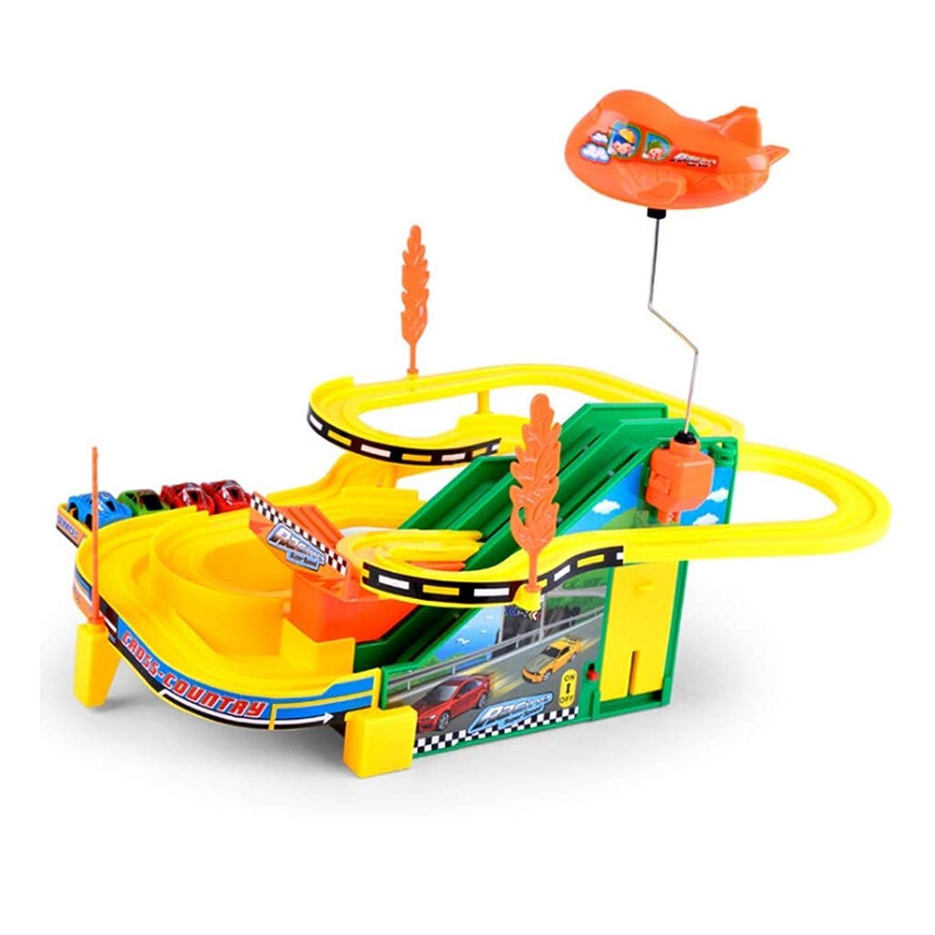 和らげるフィールド議会LINGLING-トラック トラックおもちゃ小さな列車レール車音楽小さな列車モデルのおもちゃ子供組み立てカーレース少年教育玩具クリスマスギフト (Color : Yellow)