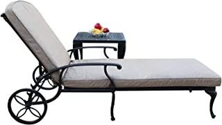A Pair of 2 Sienna Collection Cast Aluminum Powder Coated Chaise Lounge with Lite Brown Seat Cushions SA01