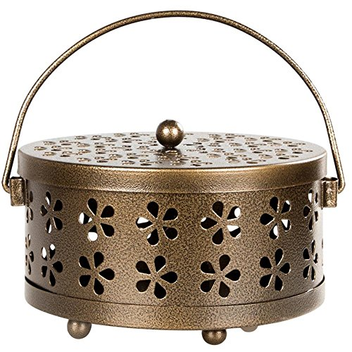 IMSHI Classical Design Portable Mosquito Coil Holder Incense Holder - Retro Portable Iron Mosquito Coil Holder with Handle Round Fireproof Incense Holder